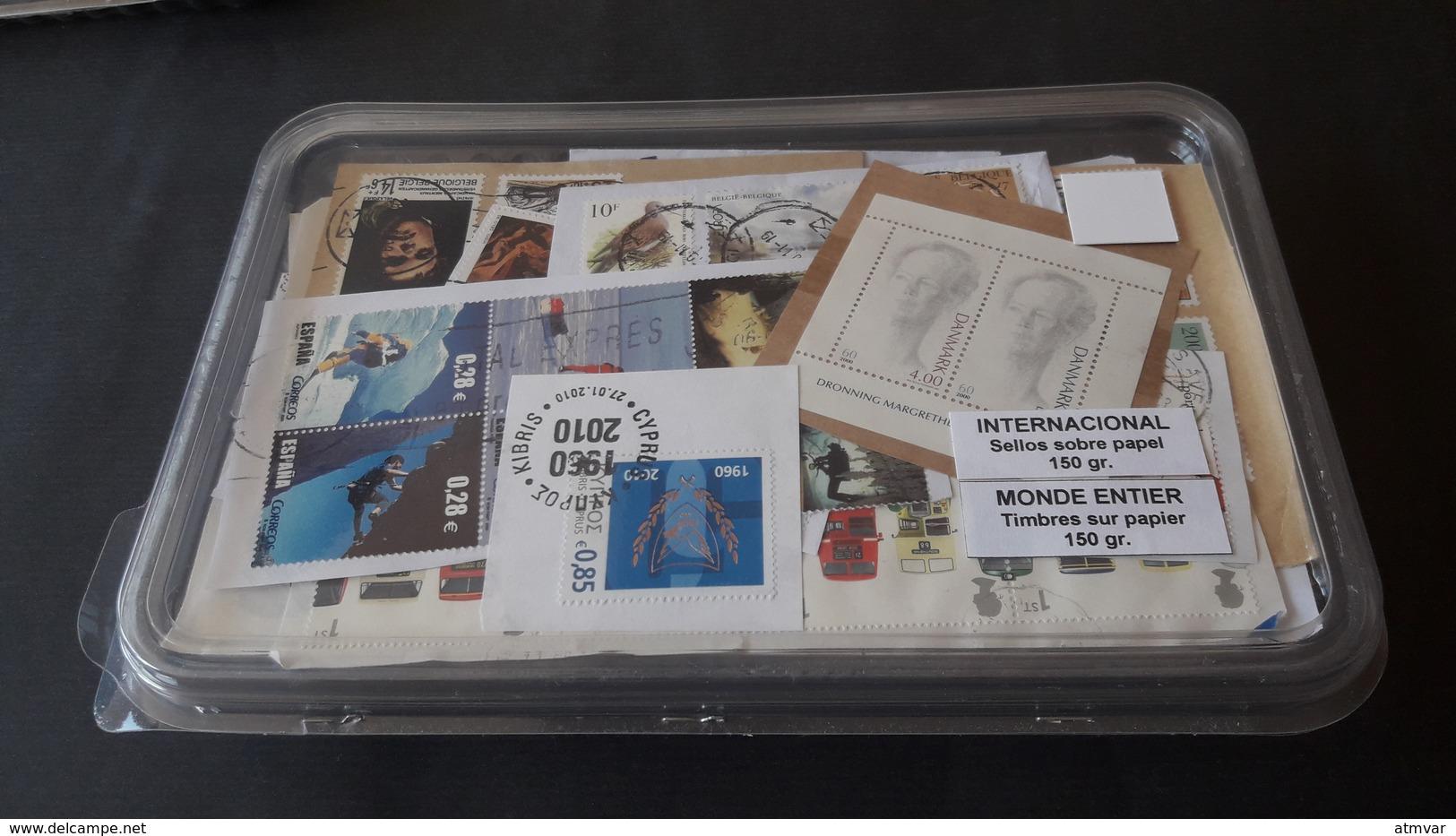 WORLDWIDE - KILOWARE 150 G. Sellos Usados, Con Papel / Used Stamps, On Paper / Timbres Oblitérés, Sur Papier - Mezclas (max 999 Sellos)