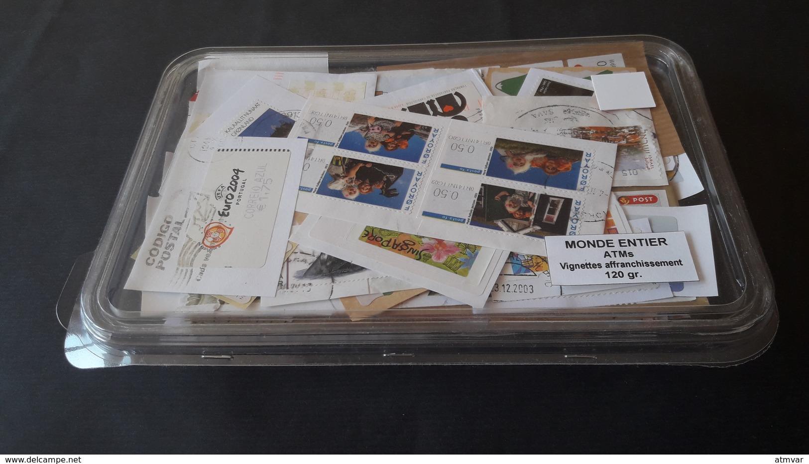 WORLDWIDE - KILOWARE 120 G. ATM - Sellos Usados, Con Papel / Used Stamps, On Paper / Timbres Oblitérés, Sur Papier - Mezclas (max 999 Sellos)