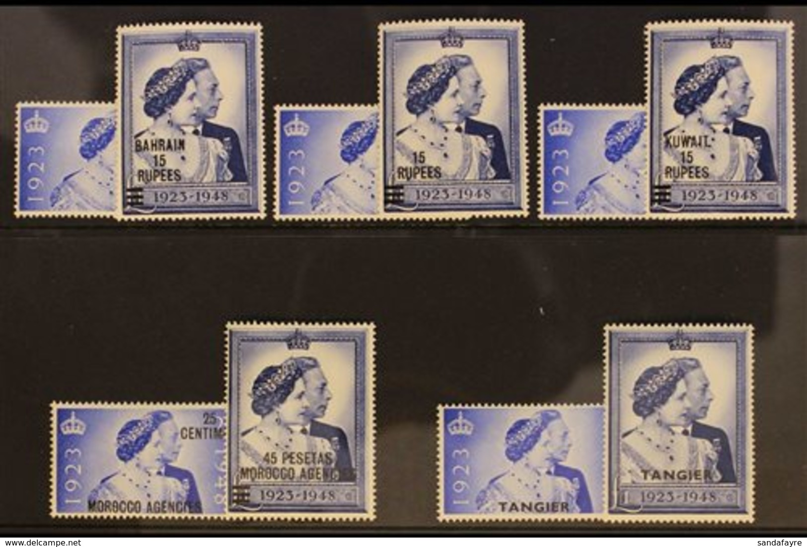 1948 WEDDING OVERPRINTED ON GB ISSUES. The GB 1948 Wedding Sets Surcharged For Bahrain, Br PA's In Eastern Arabia, Kuwai - Stamps