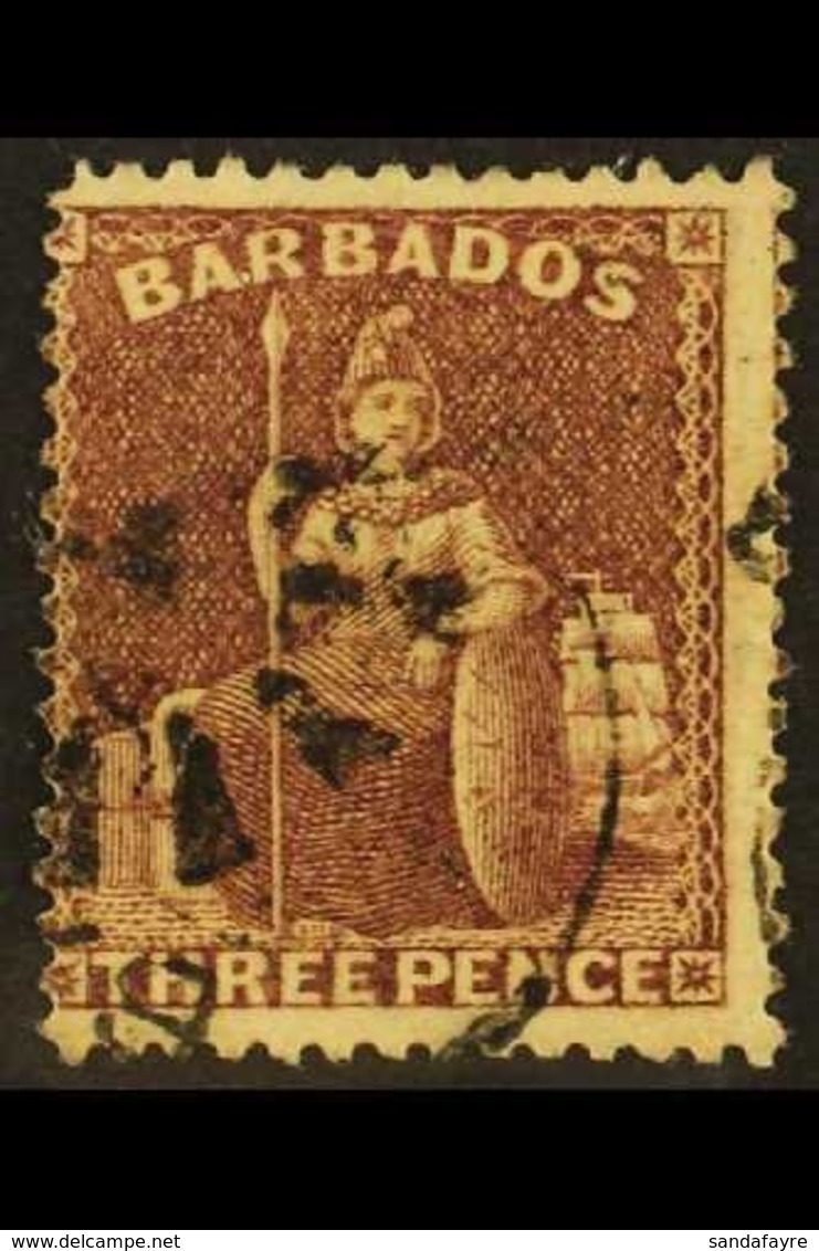 1873 3d Brown-purple, Wmk Small Star Sideways, SG 63, Fine Used. For More Images, Please Visit Http://www.sandafayre.com - Barbados (...-1966)