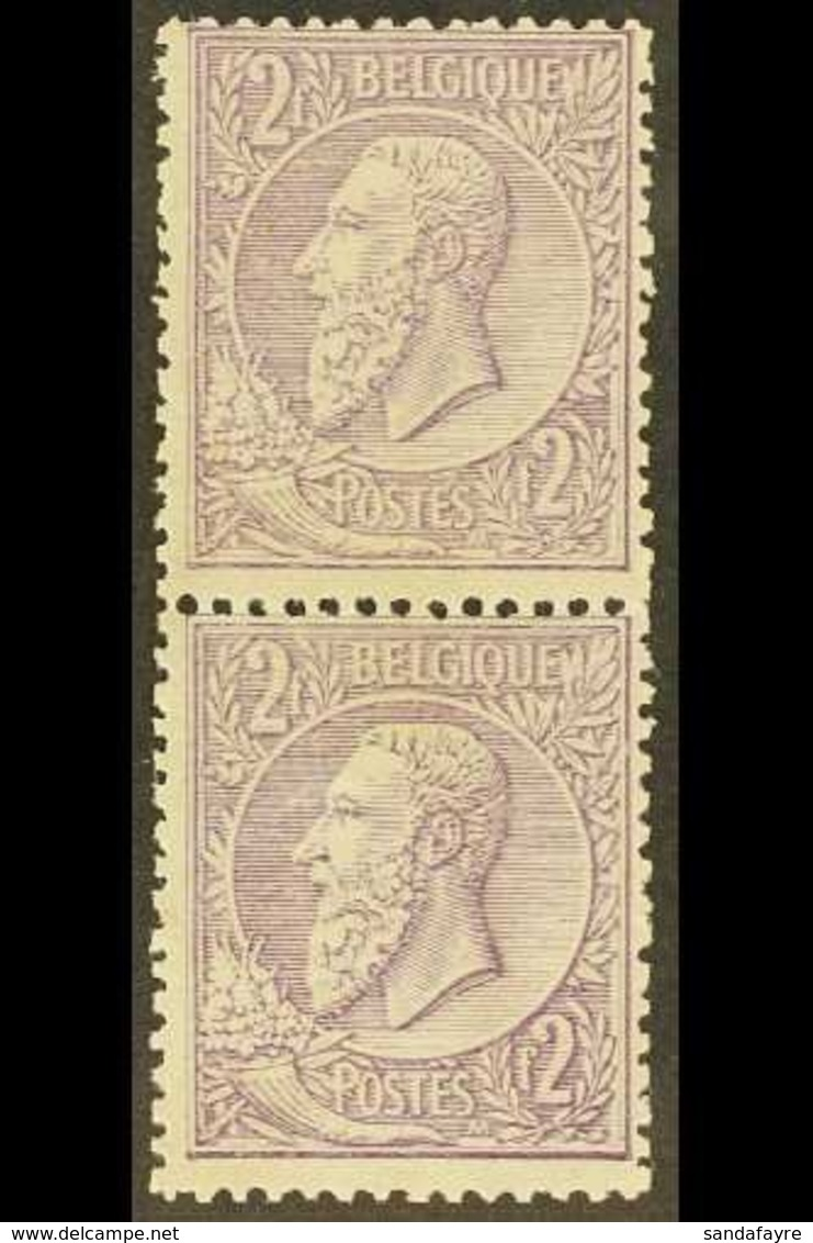 1884-91 2fr Lilac On Pale Lilac, COB 52, Very Fine Mint Vertical Pair. (2 Stamps) For More Images, Please Visit Http://w - Unclassified
