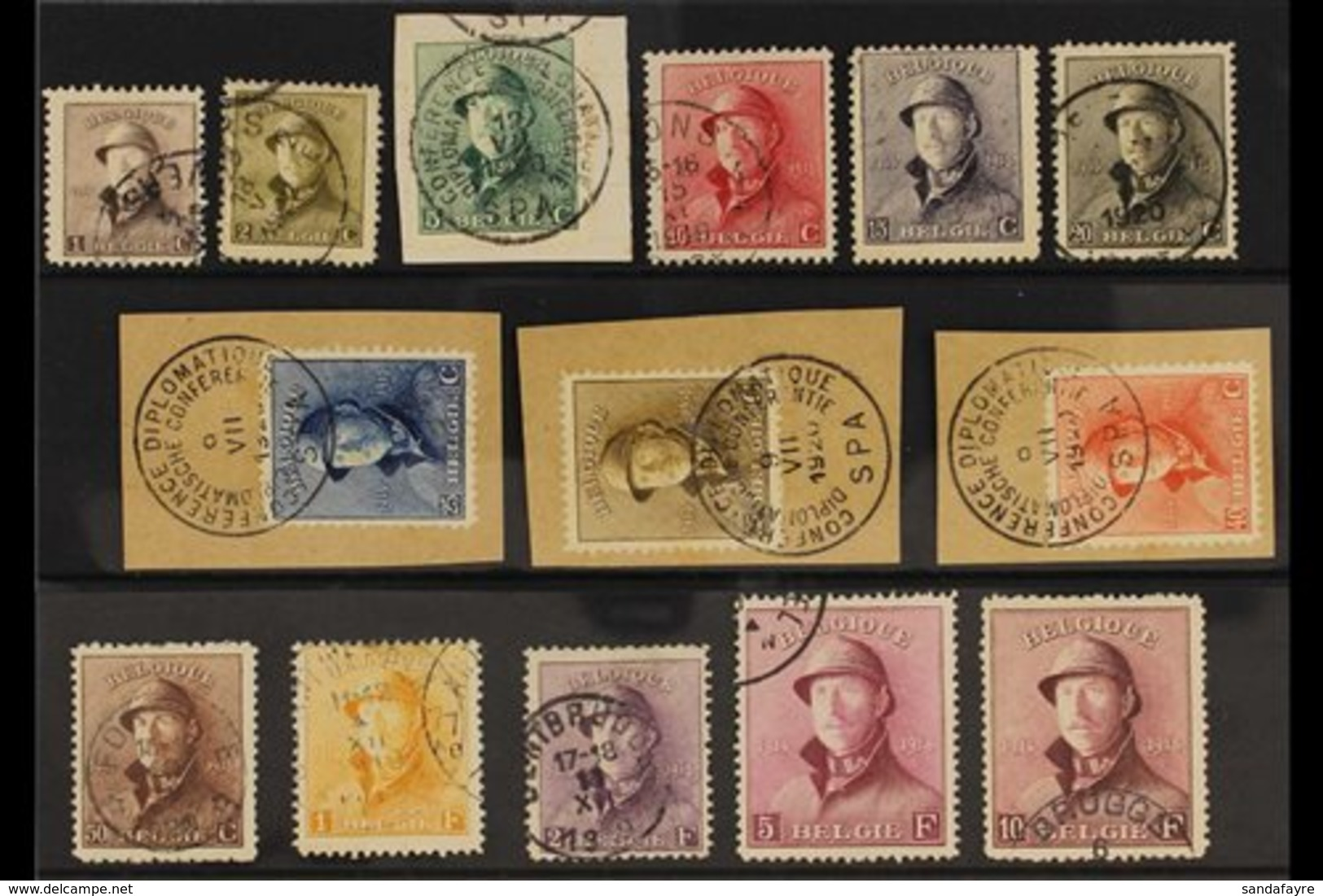 1919 King Albert Tin Hat Complete Set (COB 165/78, Michel 145/58, SG 237/50), Used, 2f & 10f With Small Thins, Fresh Col - Belgium