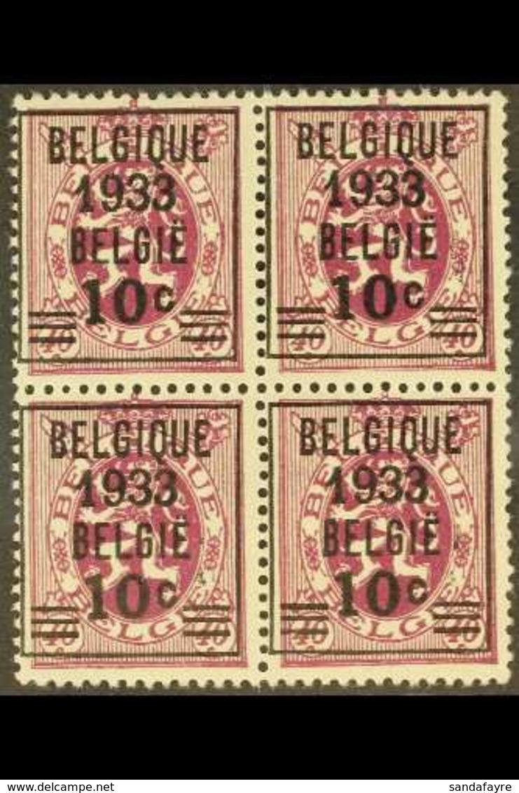 1933 NHM BLOCK OF 4. 10c On 40c Deep Reddish Purple PRECANCEL (Michel 375, COB 375A), NEVER HINGED MINT BLOCK Of 4, Fres - Belgium