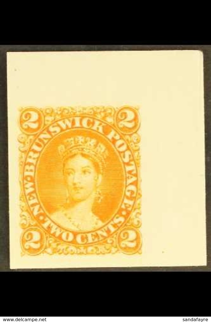 1860-63 IMPERF PLATE PROOF 2c Orange Imperf Plate Proof On India Card, Jumbo Margins To All Sides. An Attractive Example - New Brunswick