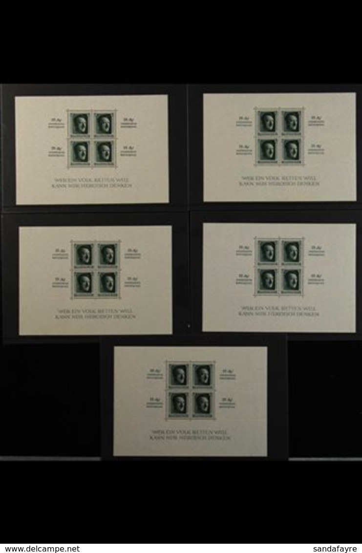 1936 Culture Fund Miniature Sheets (Michel Block 9, SG MS637), Never Hinged Mint Five Examples, Very Fresh, Cat £1,750.  - Germany