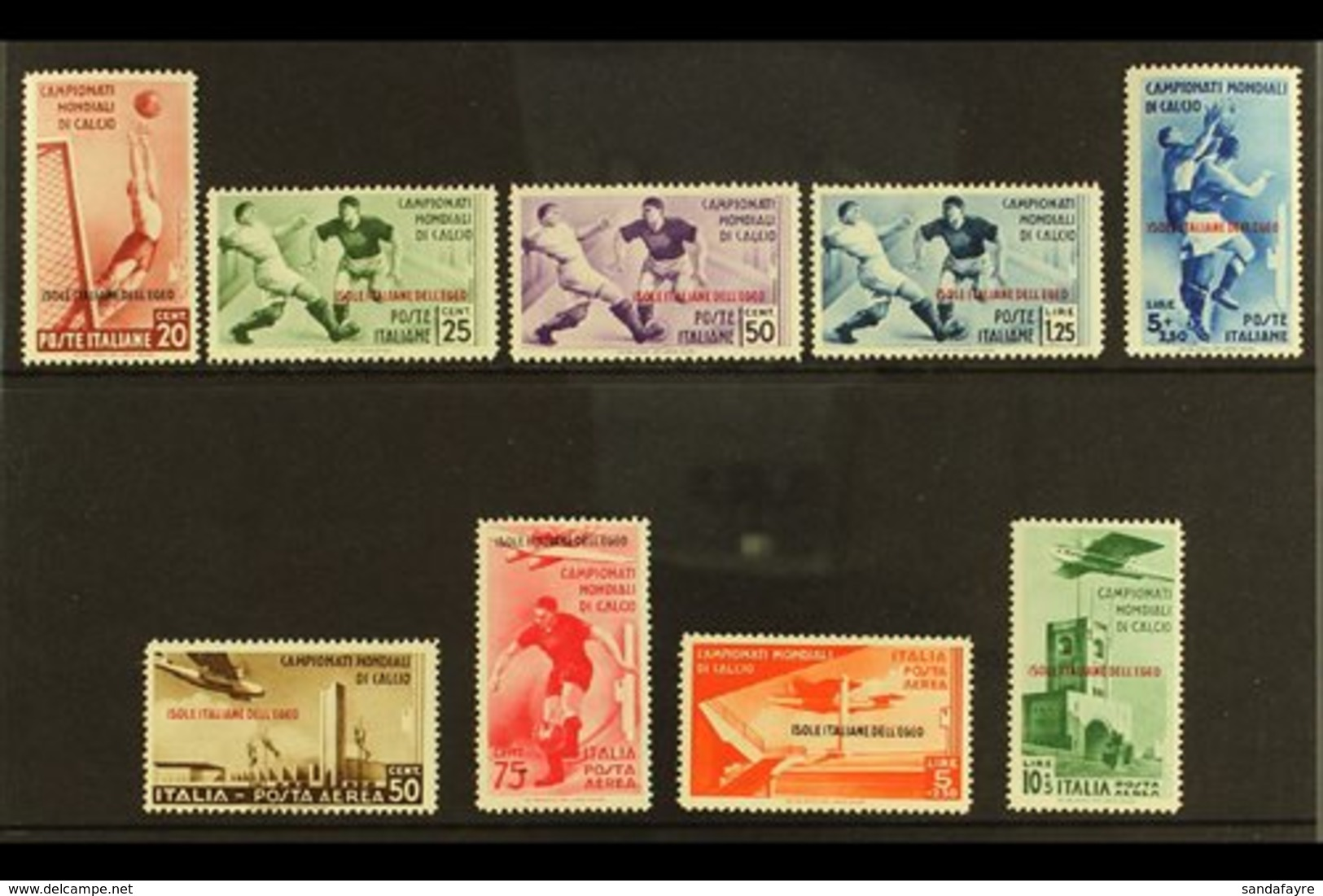 DODECANESE ISLANDS AEGEAN ISLANDS - EGEO 1934 Football Complete Set Inc Airs (Sassone 75/79 & A34/37, SG 128/36), Fine M - Italy