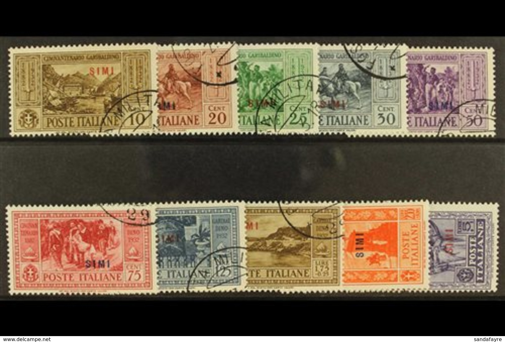 DODECANESE ISLANDS (SIMI) 1932 Garibaldi Complete Overprinted Set, SG 89/98 Or Sassone S. 81, Very Fine Used. (10 Stamps - Italy