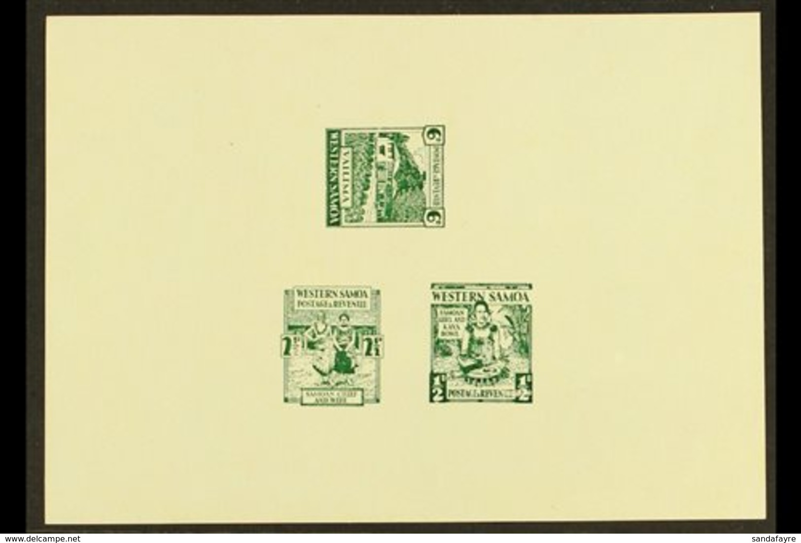 1935 PICTORIAL DEFINITIVE ESSAYS Collins Essays For The ½d, 2½d And 6d Values, In Green On A Single Sheet Of Thick Gloss - Samoa