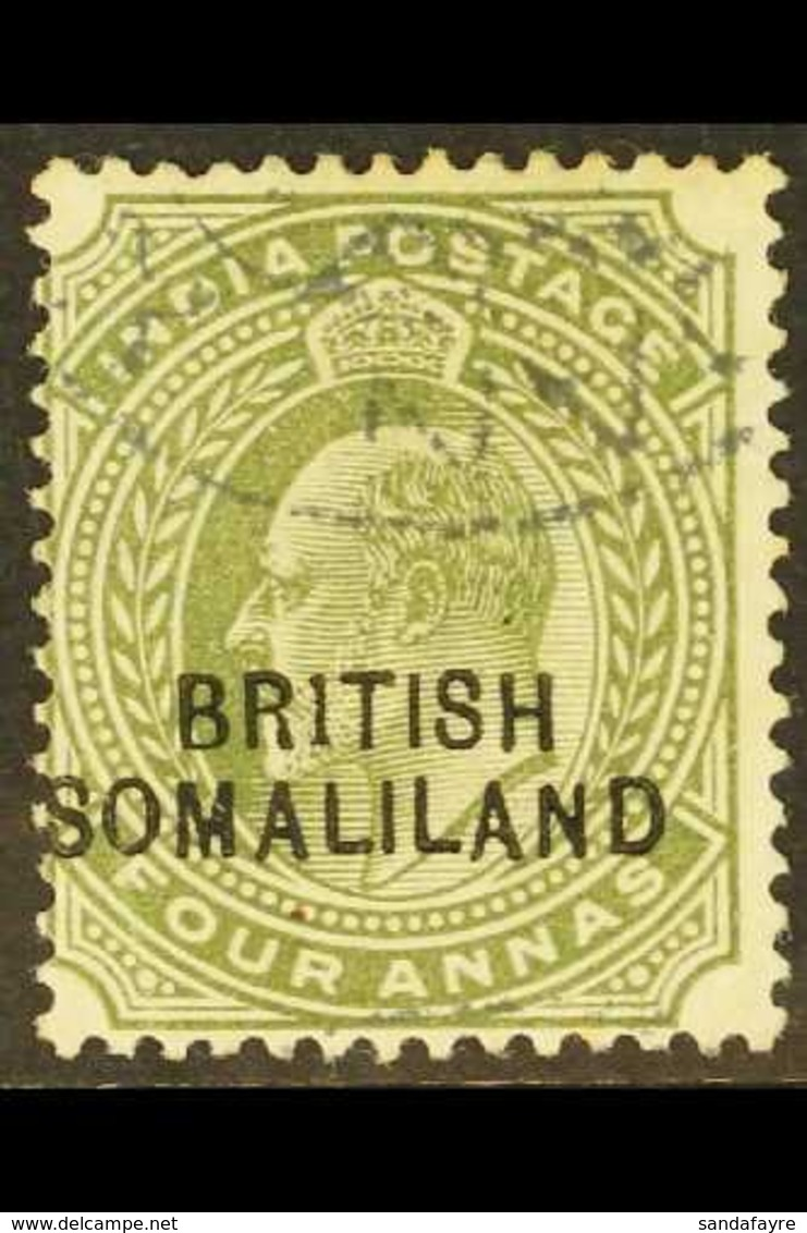 """1903 4a Olive """"BR1TISH"""", SG 29a, Fine Used. For More Images, Please Visit Http://www.sandafayre.com/itemdetails.aspx?s=6 - Somaliland (Protectorate ...-1959)"""