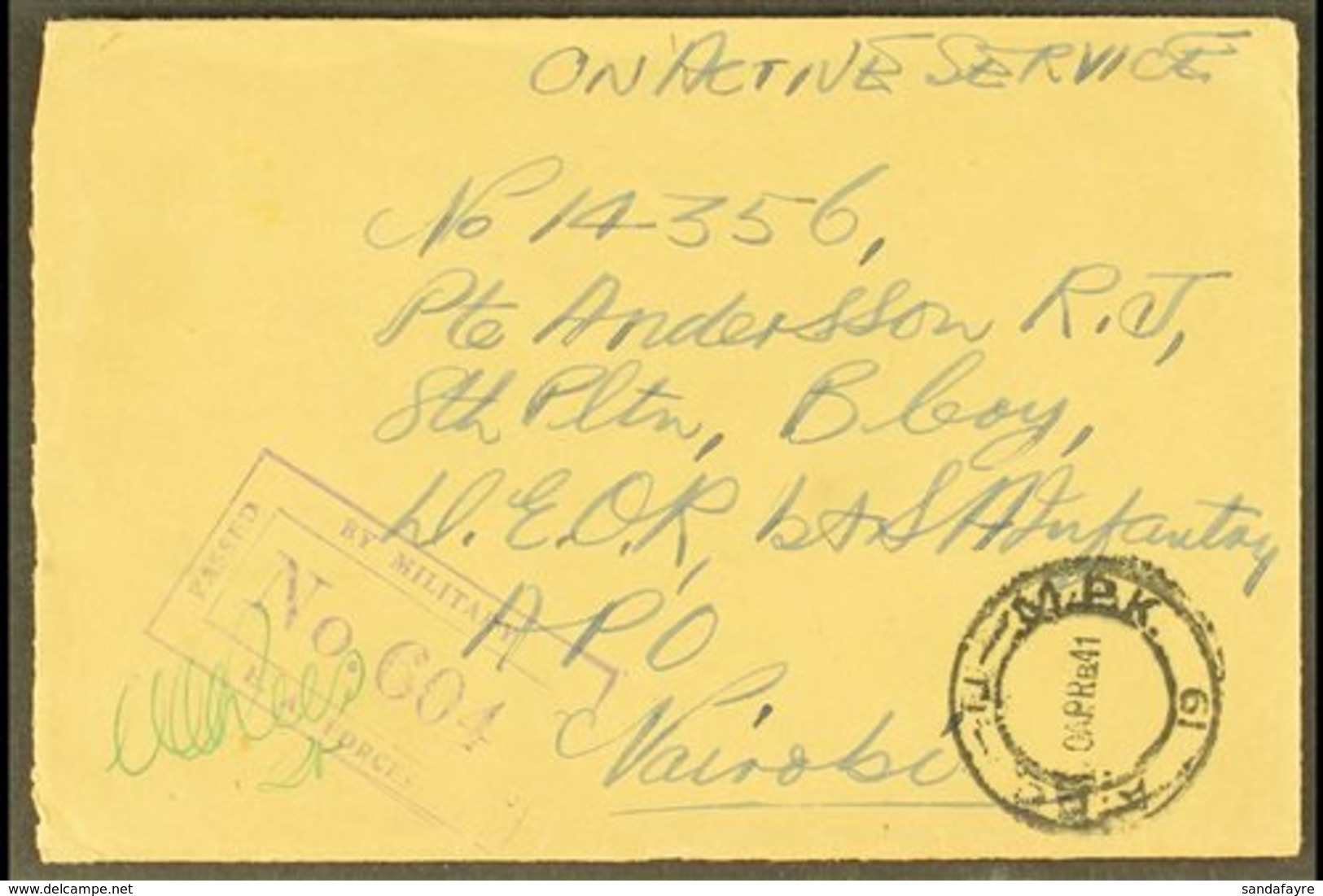 """1941 Stampless Envelope Endorsed """"On Active Service"""" And Posted To Kenya, Kismayu """"A.P.O. - U - M.P.K. 19"""" Postmark App - Somaliland (Protectorate ...-1959)"""