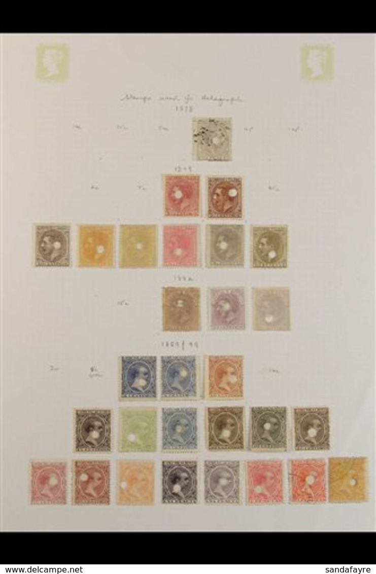1870-1899 TELEGRAPHIC PUNCH CANCELS. All Different Collection Of Stamps Used With Telegraphic Punch Cancels, Some With A - Spain