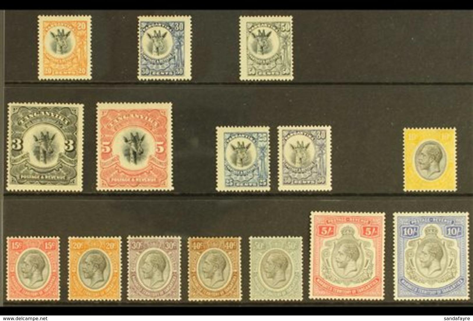 "1922-31 ALL DIFFERENT MINT SELECTION Presented On A Stock Card & Includes 1922-24 ""Giraffe"" 20c, 30c & 50c, P14 Wmk Side - Kenya, Uganda & Tanganyika"