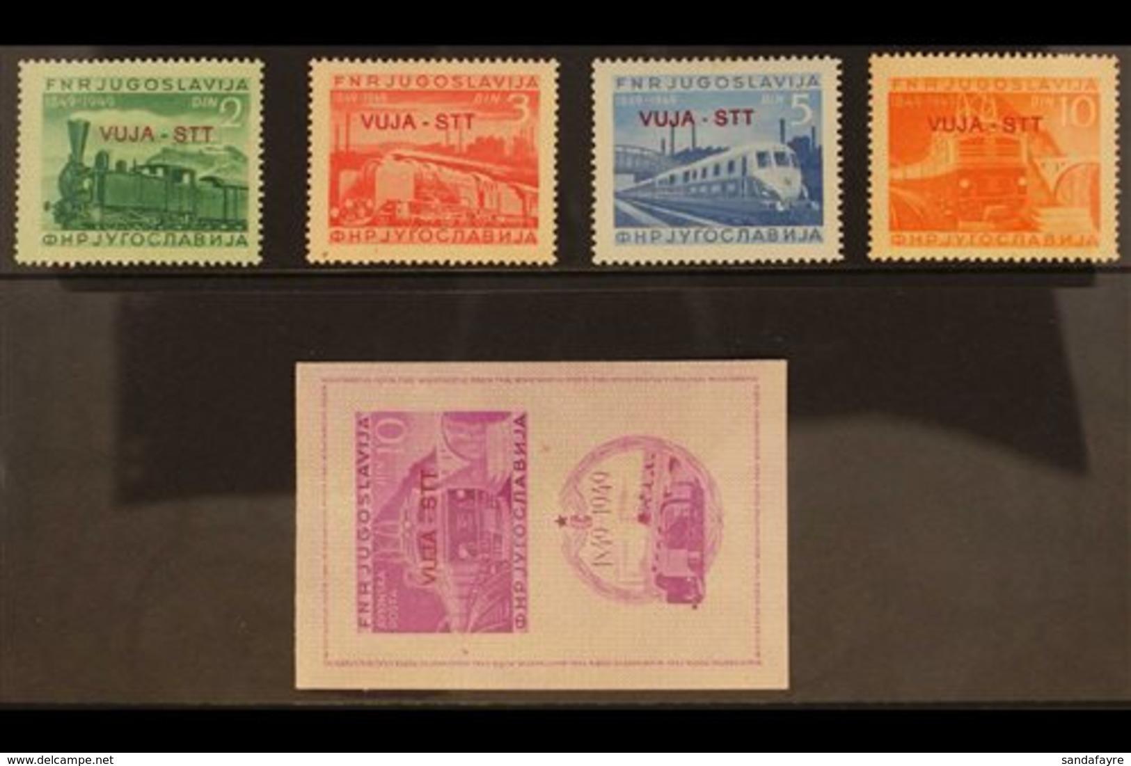 "ZONE B 1950 Railway Centenary Set Plus Imperf Miniature Sheet, Overprinted ""VUJA - STT"" In Red, SG B33/B36 Plus MS B36Ba - Trieste"
