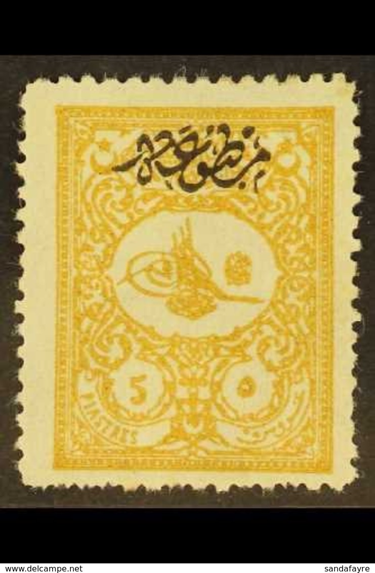 1901 5pi Yellow-buff Foreign Mail With Printed Matter Overprint (Michel 113 A, SG N194), Fresh Mint, Some Shortish Perfs - Turkey
