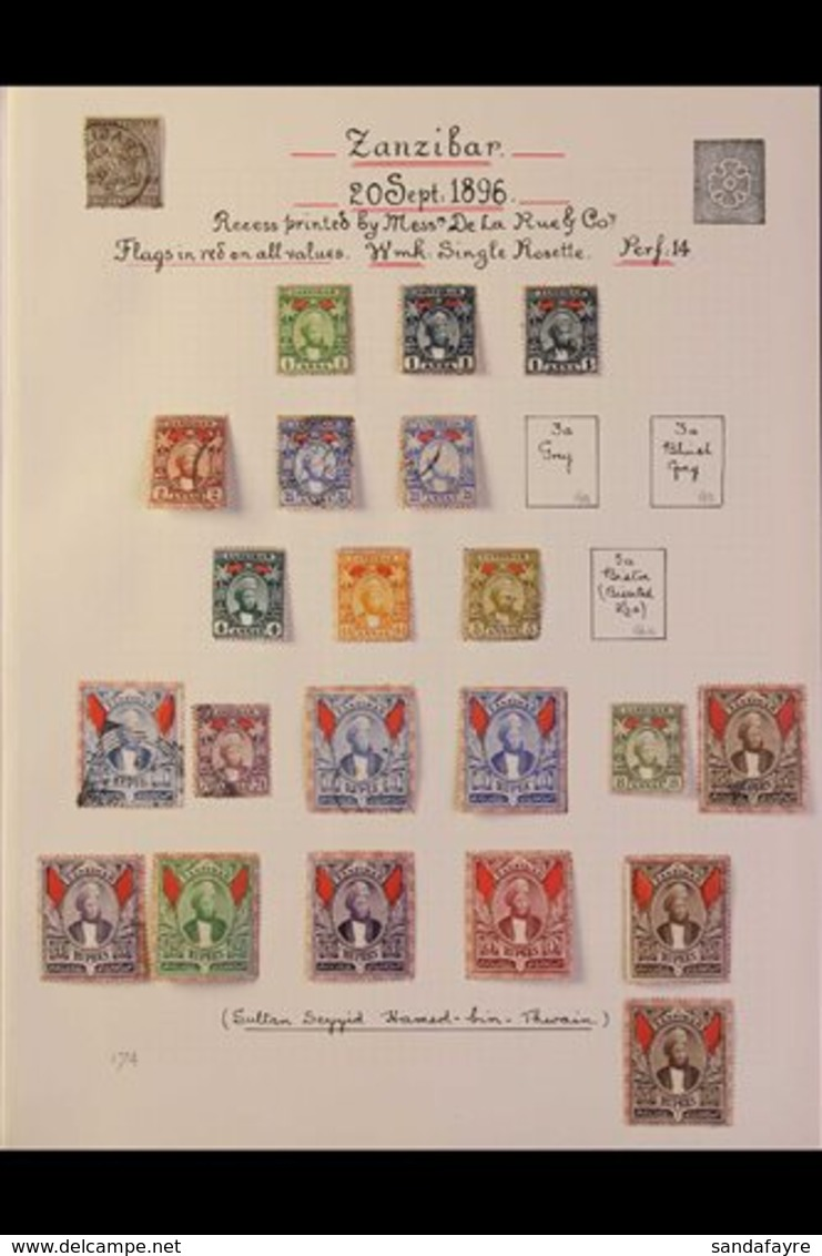 1895-1961 ATTRACTIVE COLLECTION On Leaves, Mint & Used, Includes 1896 Sultan Set (ex 3a) Mostly Mint Incl 1r (x3, One Mi - Zanzibar (...-1963)