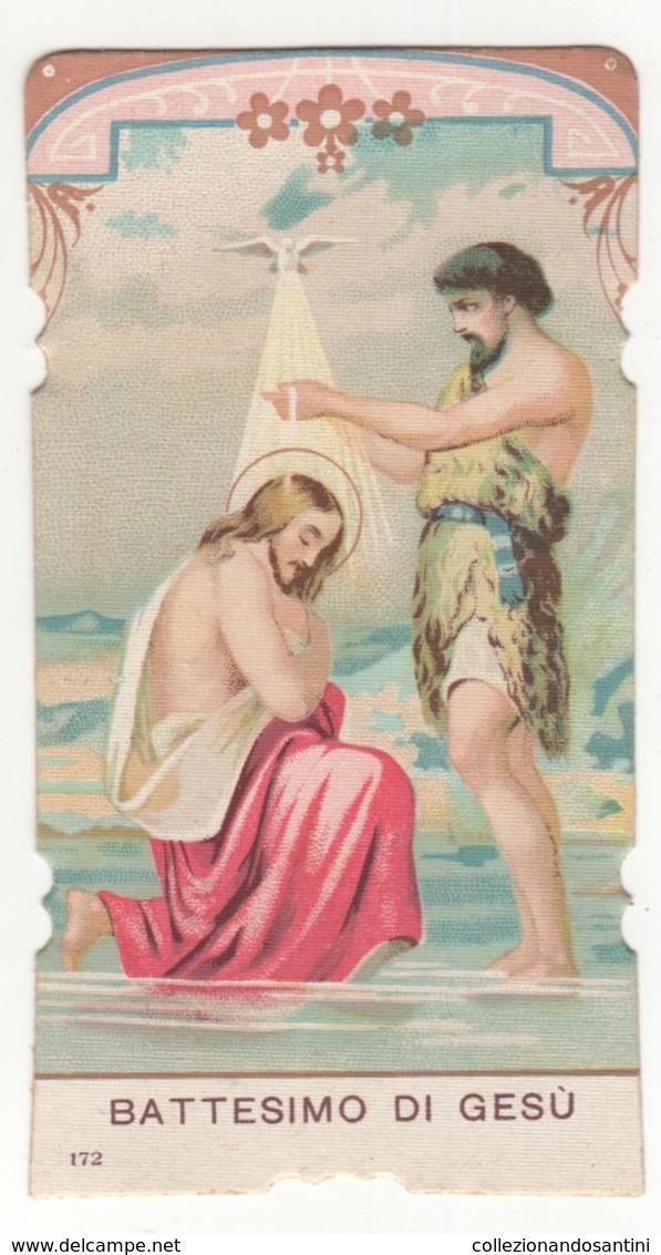 Santino Antico Fustellato Battesimo Di Gesù Natale Salvardi Editore 172 - Religion & Esotericism
