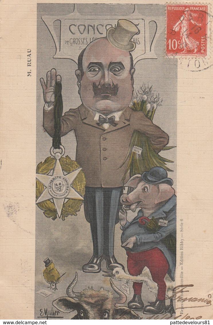 CPA Caricature Satirique Politique Joseph RUAU Député Cochon Porc Pig Illustrateur E. MULLER (2 Scans) - Satiriques