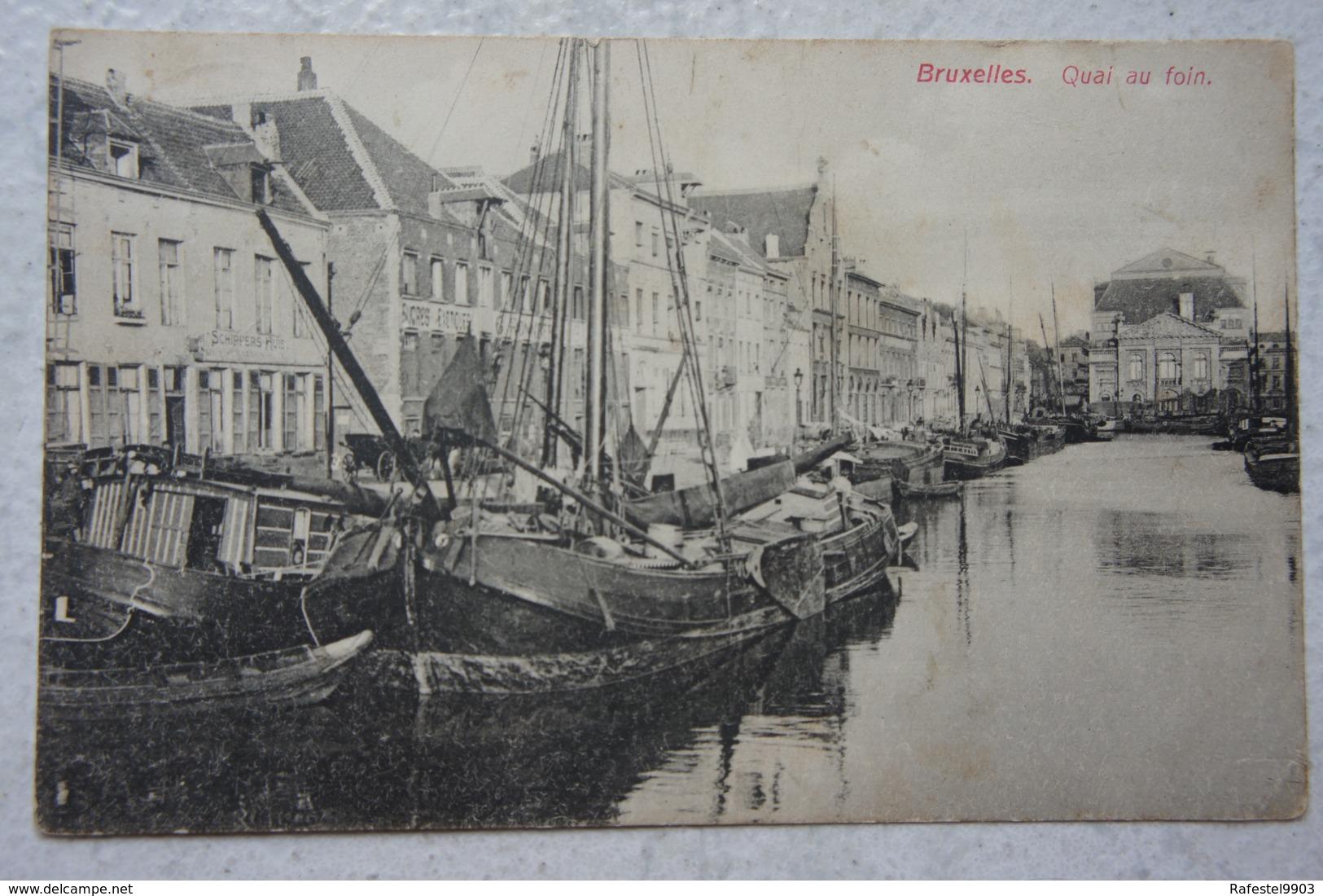 CPA BRUXELLES Brussel Canal Quai Au Foin Kanaal Péniche Peniche Barge Binnenscheepvaart - Non Classificati