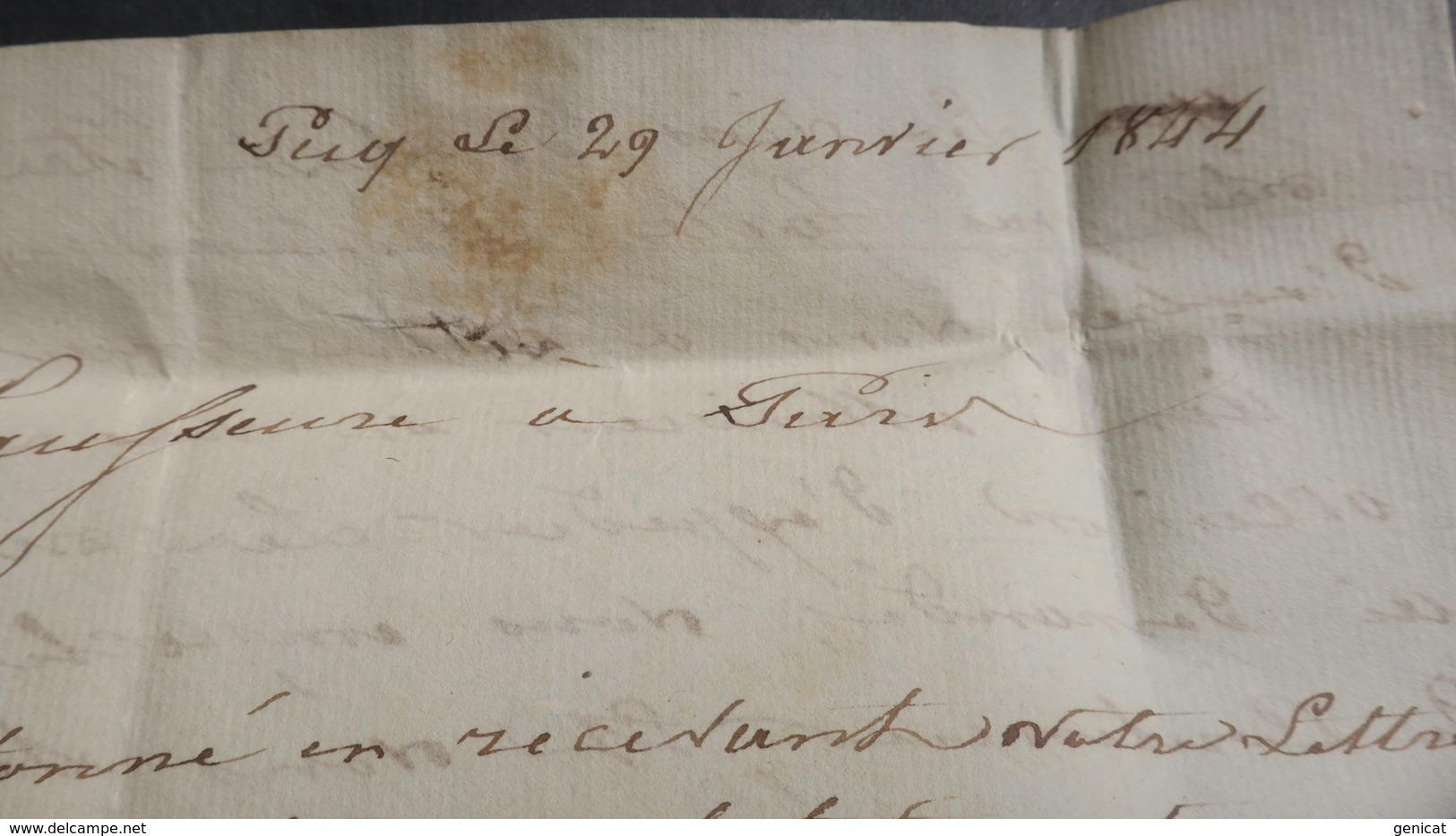 Belgique Lettre De Pecq  1844 Pour Paris Voir Scans - 1830-1849 (Independent Belgium)