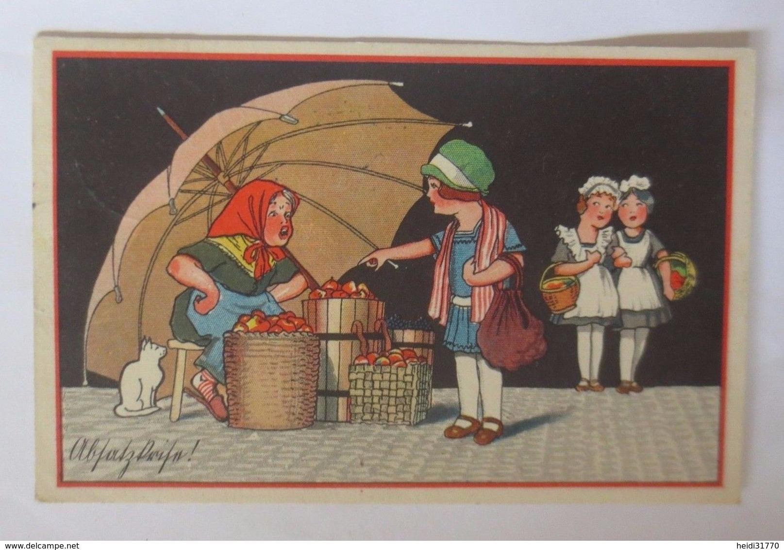 Frauen, Kinder, Markt, Äpfel Verkauf, Katze   1928    ♥  - Niños