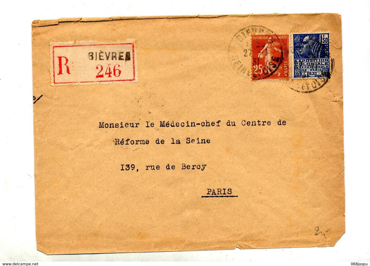 Lettre Recommandée Bievres Sur Semeuse Expo Coloniale - Storia Postale