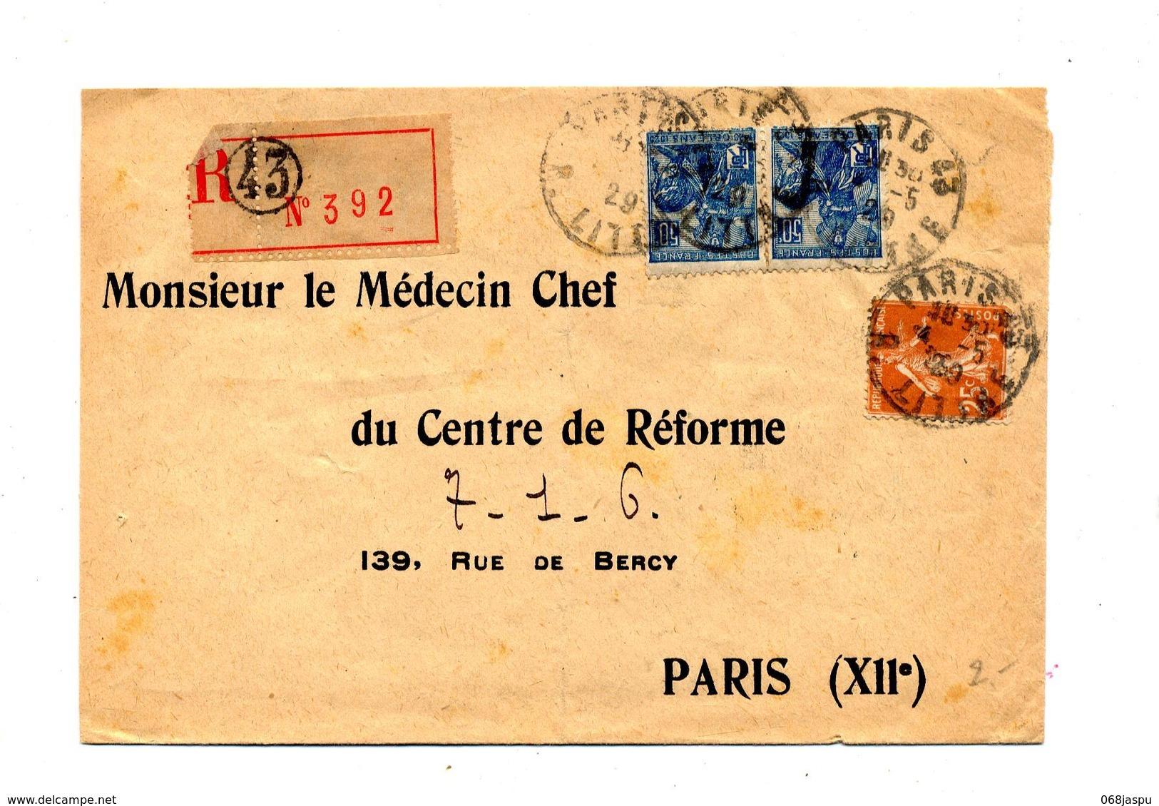 Lettre Recommandée Paris 43 Sur Jeanne D'arc Semeuse - Cachets Manuels