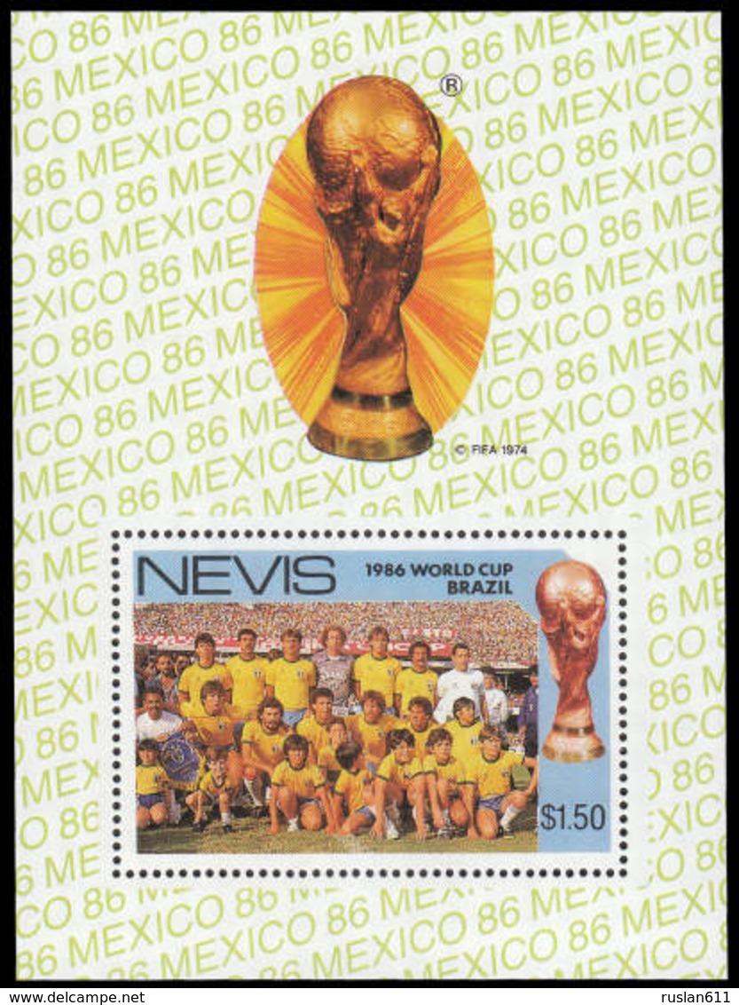 Soccer Football Nevis Bl 10a 1986 World Cup Mexico MNH ** - 1986 – Mexico