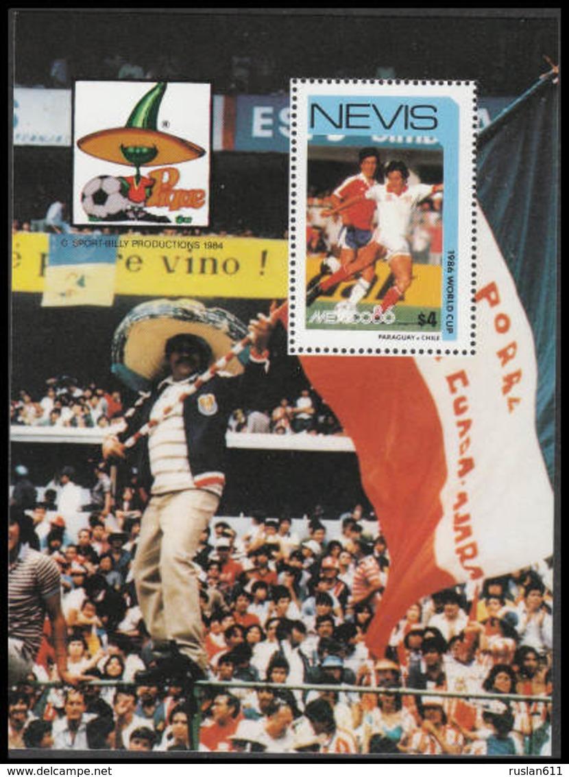 Soccer Football Nevis Bl 10e 1986 World Cup Mexico MNH ** - World Cup