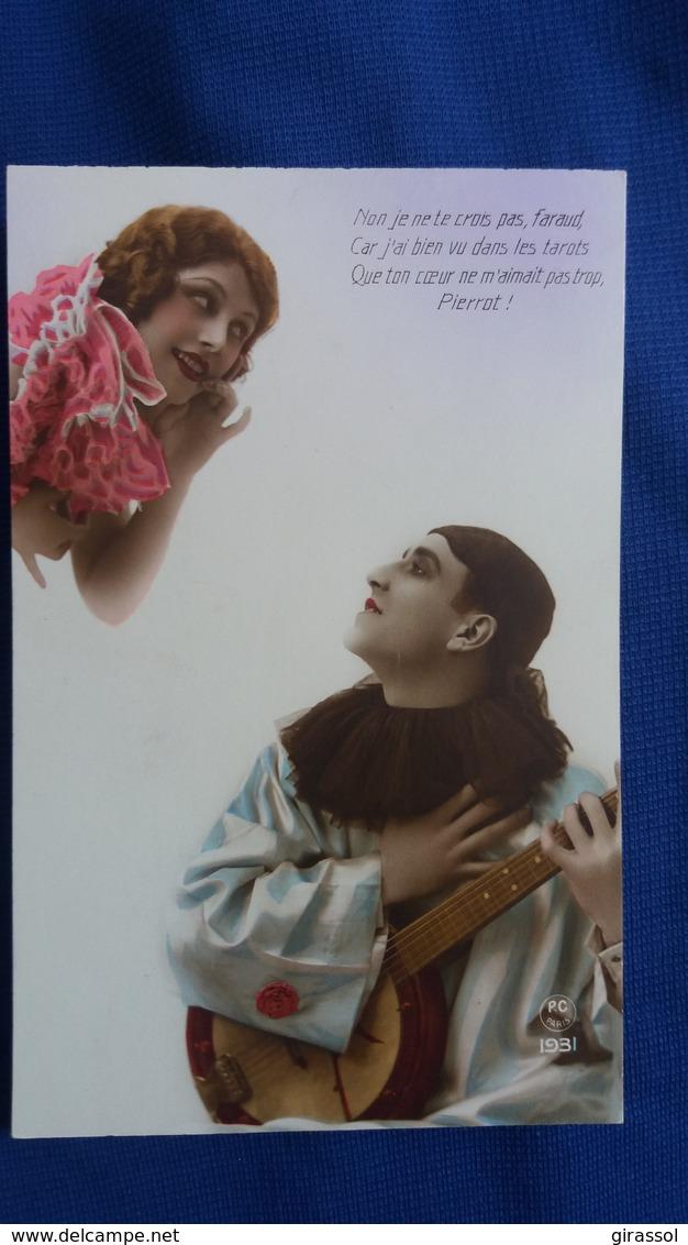 CPA PIERROT A LA MANDOLINE FEMME VOYANTE TAROT PC 1931 - Donne