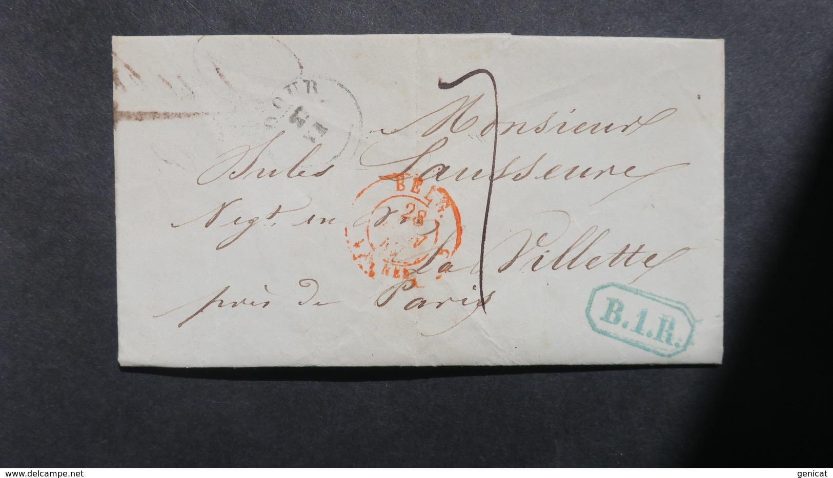Belgique Lettre De Dour 1847 Pour Paris Cachet Rect. B.1.R  Et Taxe 7 Voir Scans - 1830-1849 (Independent Belgium)