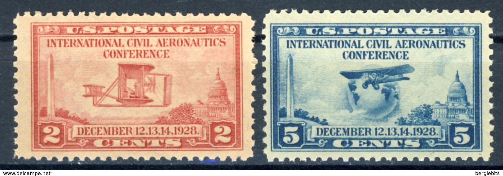 "1928 United Sates MNH OG Complete Set Of 2 Stamps ""Aeronautics Conference"" Cat. # 314-315 - Unused Stamps"