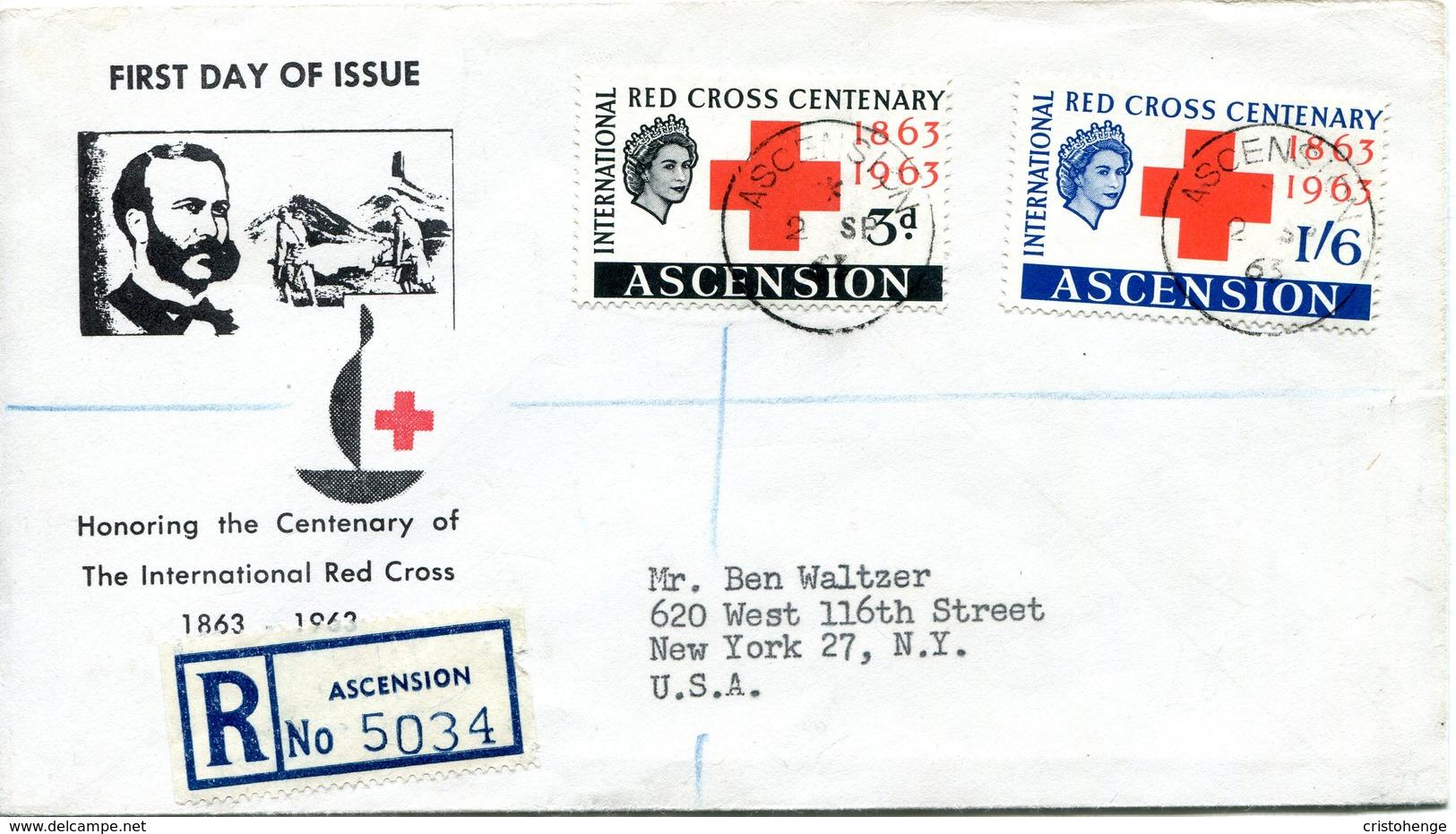 Ascension 1963 Red Cross Centenary FDC Cover - Ascension (Ile De L')