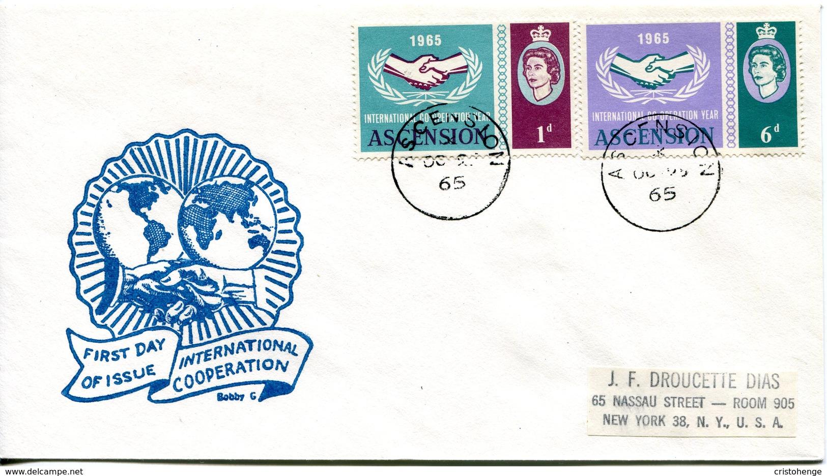Ascension 1965 International Co-operation Year FDC Cover - Ascension (Ile De L')