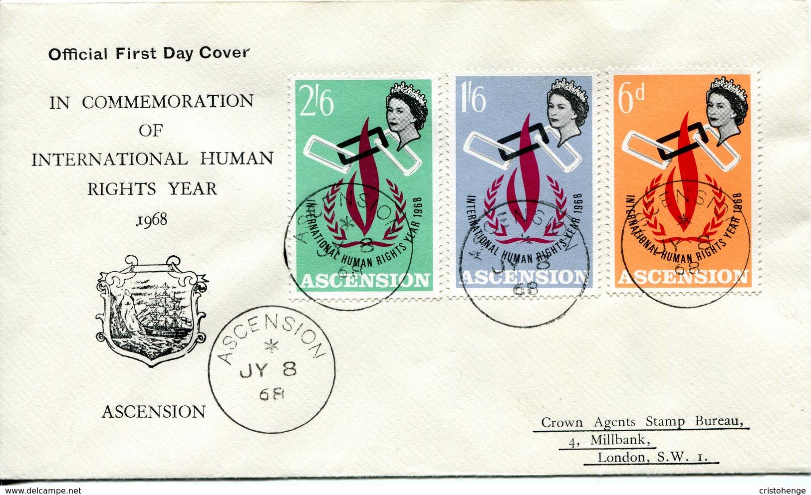 Ascension 1968 Human Rights Year FDC Cover - Ascension (Ile De L')