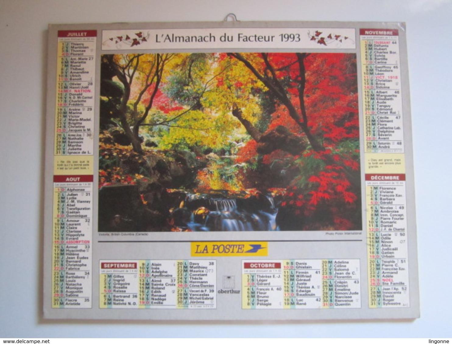 1993 ALMANACH DU FACTEUR Calendrier Des Postes HAUTE-MARNE 52 - Grand Format : 1991-00