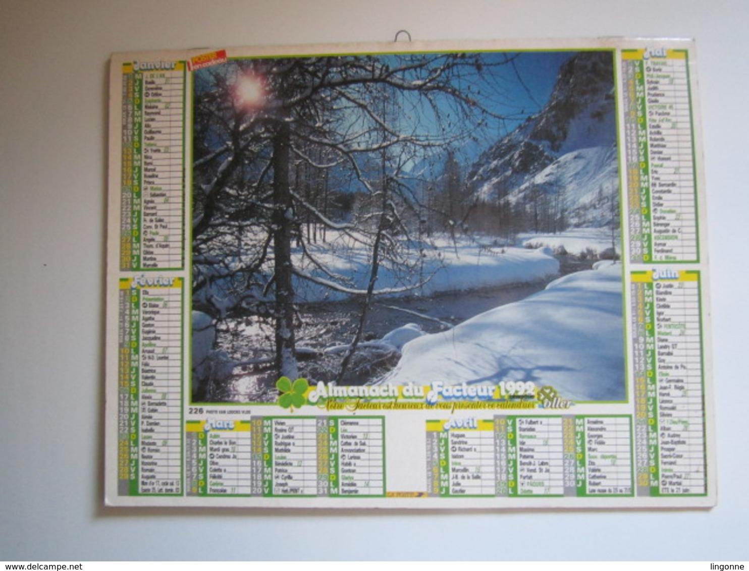 1992 ALMANACH DU FACTEUR Calendrier Des Postes HAUTE-MARNE 52 + POSTER ALMANACH DES POSTES 1929 Et 1945 - Calendriers