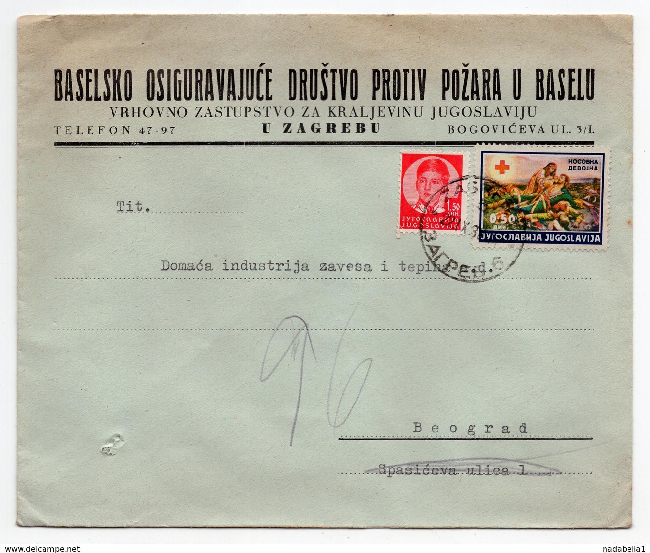 1930s  CROATIA, ZAGREB TO BELGRADE, BASEL INSURANCE CO, HEAD OFFICE FOR KINGDOM OF YUGOSLAVIA, COMPANY LETTERHEAD COVER - 1931-1941 Kingdom Of Yugoslavia
