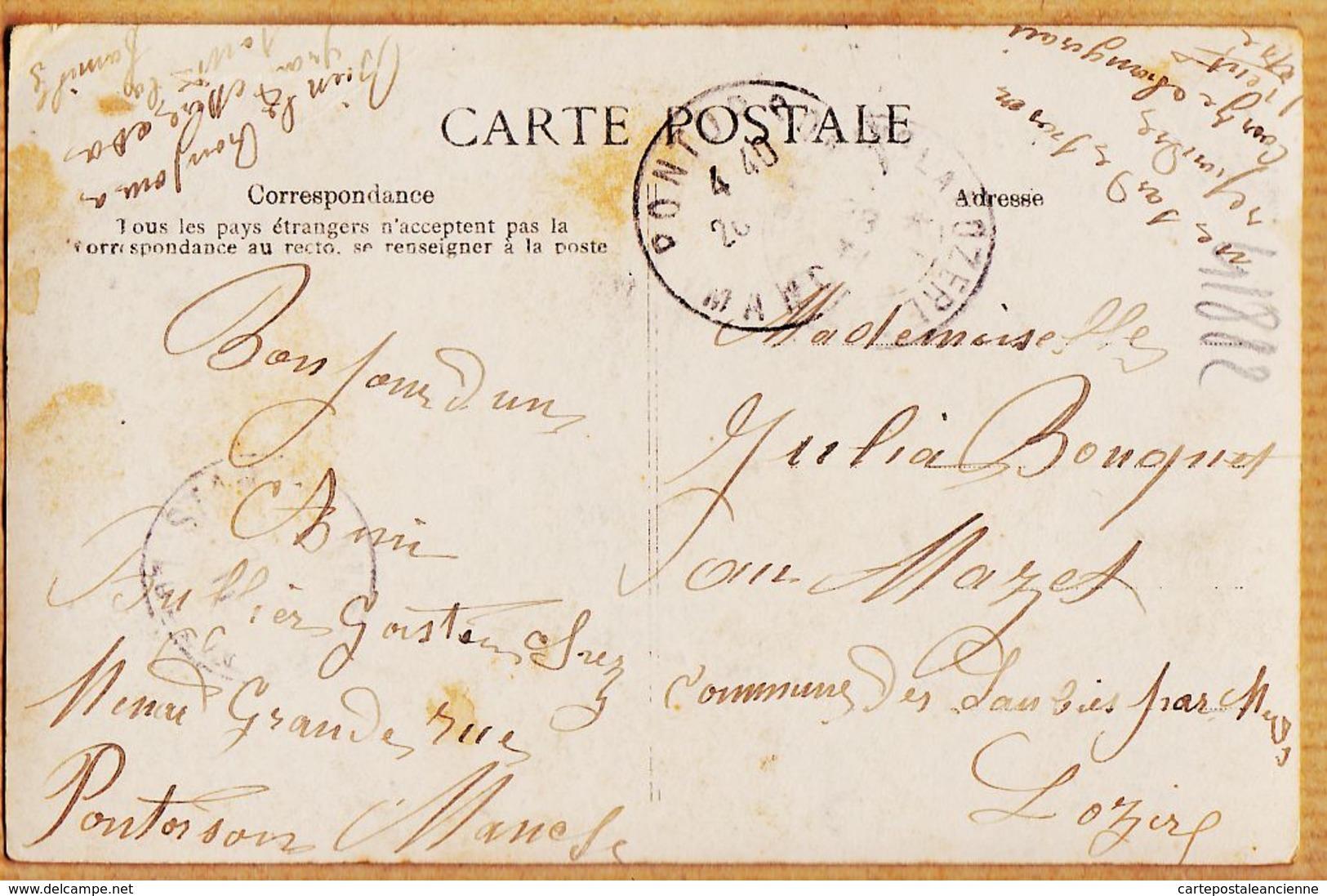 X50088 PONTORSON Une Pensée 1908 De Gaston BAILLIER à Julia BOUQUET Mazet Lambies - Pontorson