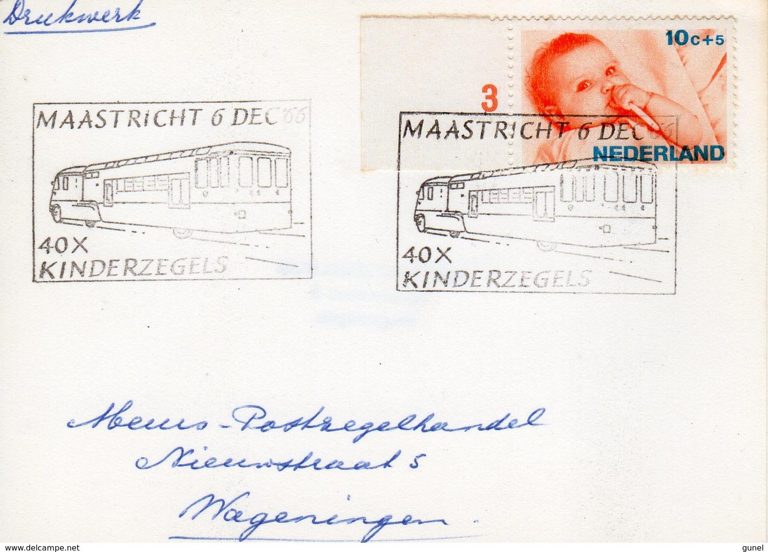 6 DEC 86 Gelegenheidsstempel Maastricht 40x Kinderzegels Op Bk Naar Wageningen - Marcophilie