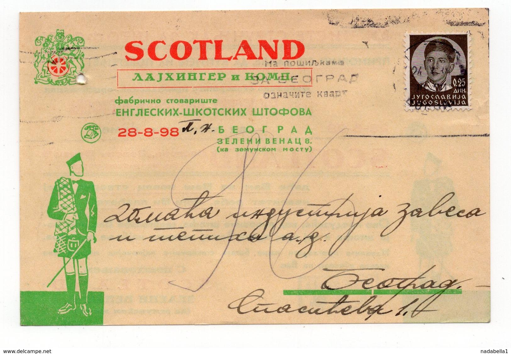 1938,YUGOSLAVIA, SERBIA, BELGRADE, SCOTLAND, CORRESPONDENCE CARD, FLAM: MARK THE MAIL FOR BELGRADE DELIVERY - Covers & Documents