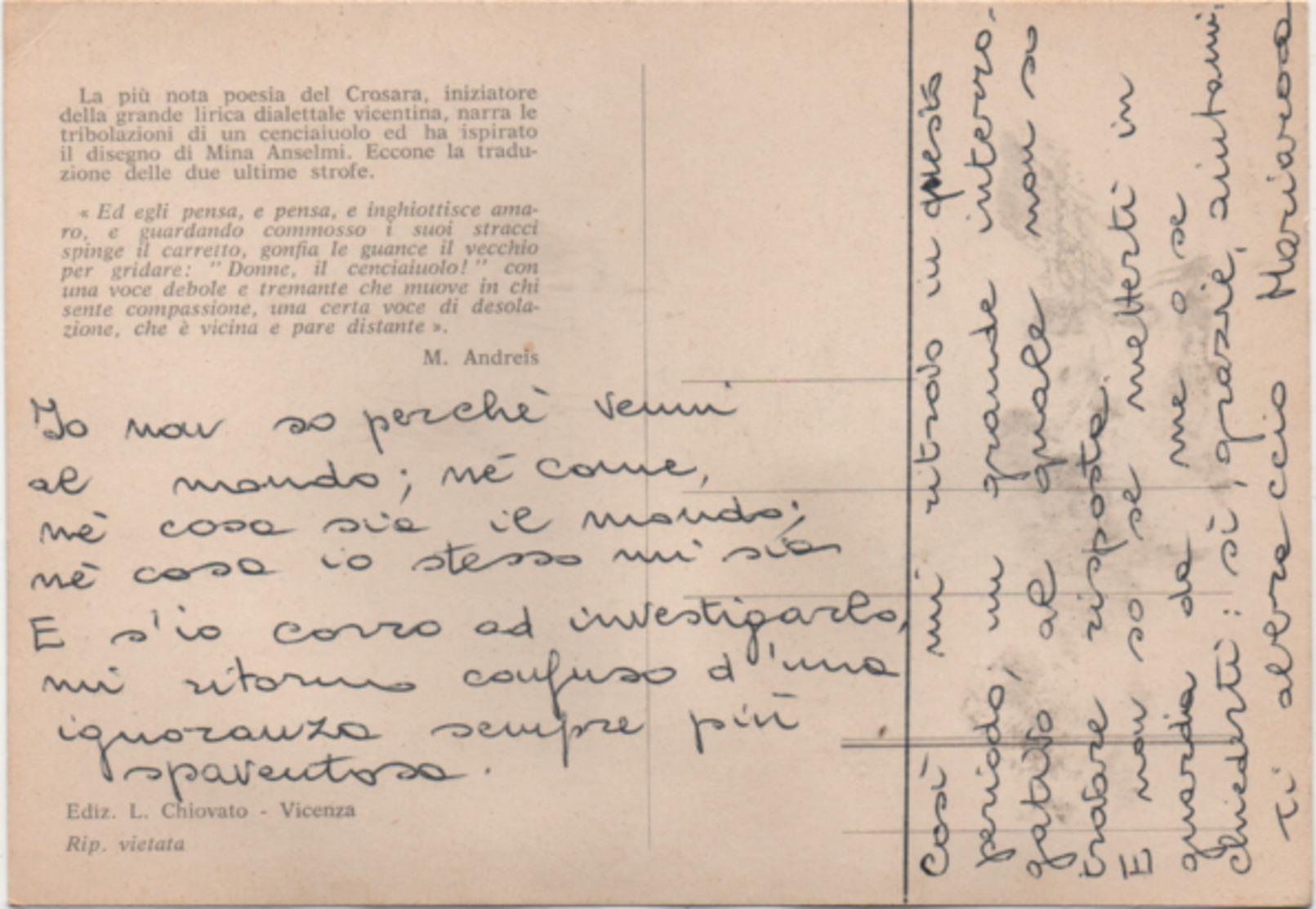 Cartolina Dedicata Al Cenciaiuolo (strassaro In Dialetto Veneto). Edizioni Chiovato, Vicenza. Non Viaggiata - Paesani