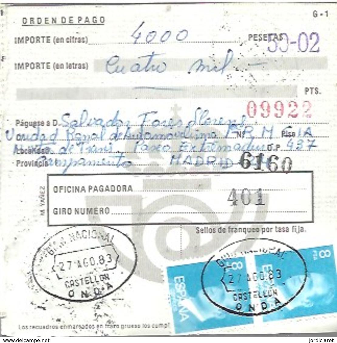 GIRO 1983 ONDA CASTELLON - 1931-Hoy: 2ª República - ... Juan Carlos I