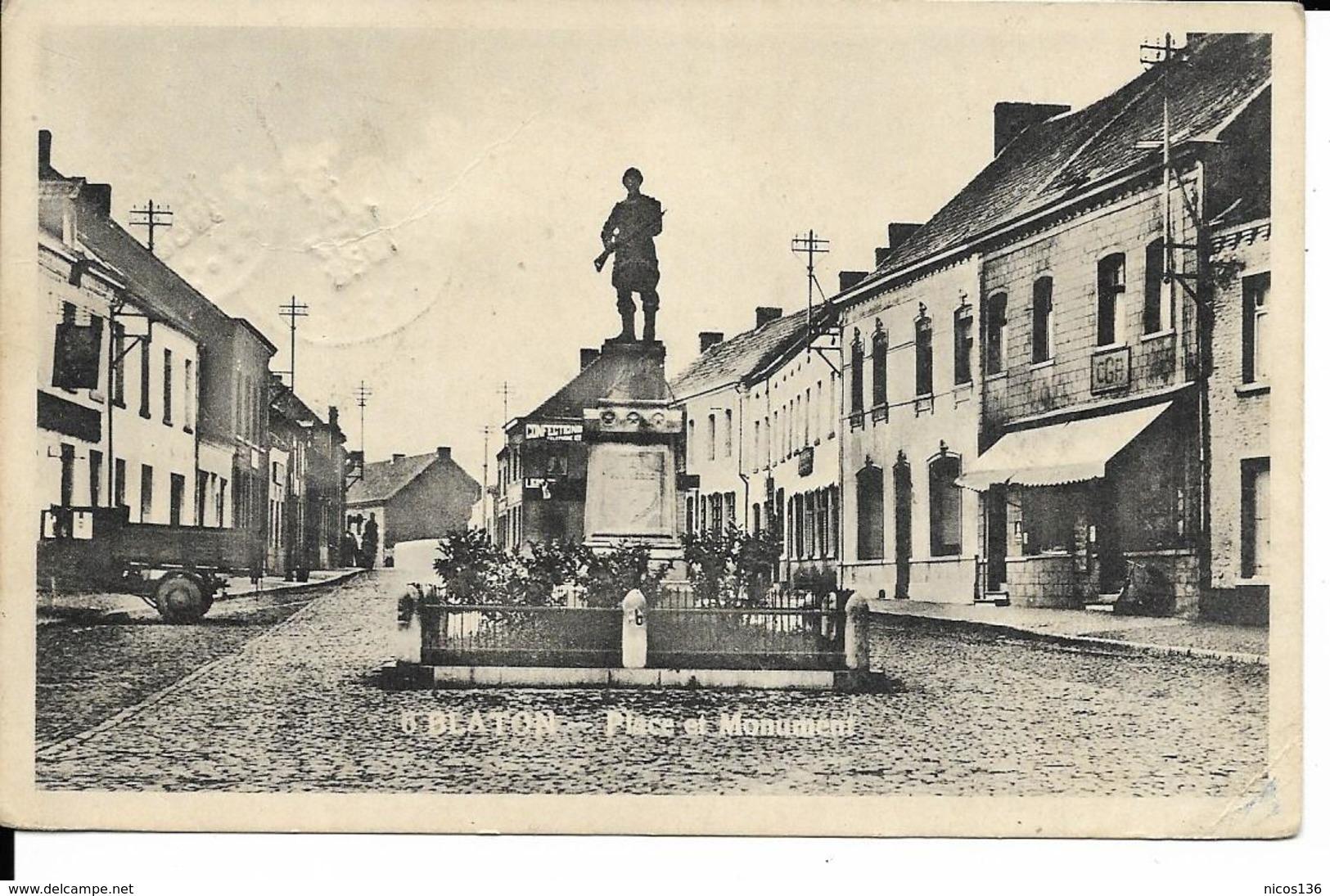 BLATON   PLACE DU MONUMENT   ECRITE1938 - Bernissart