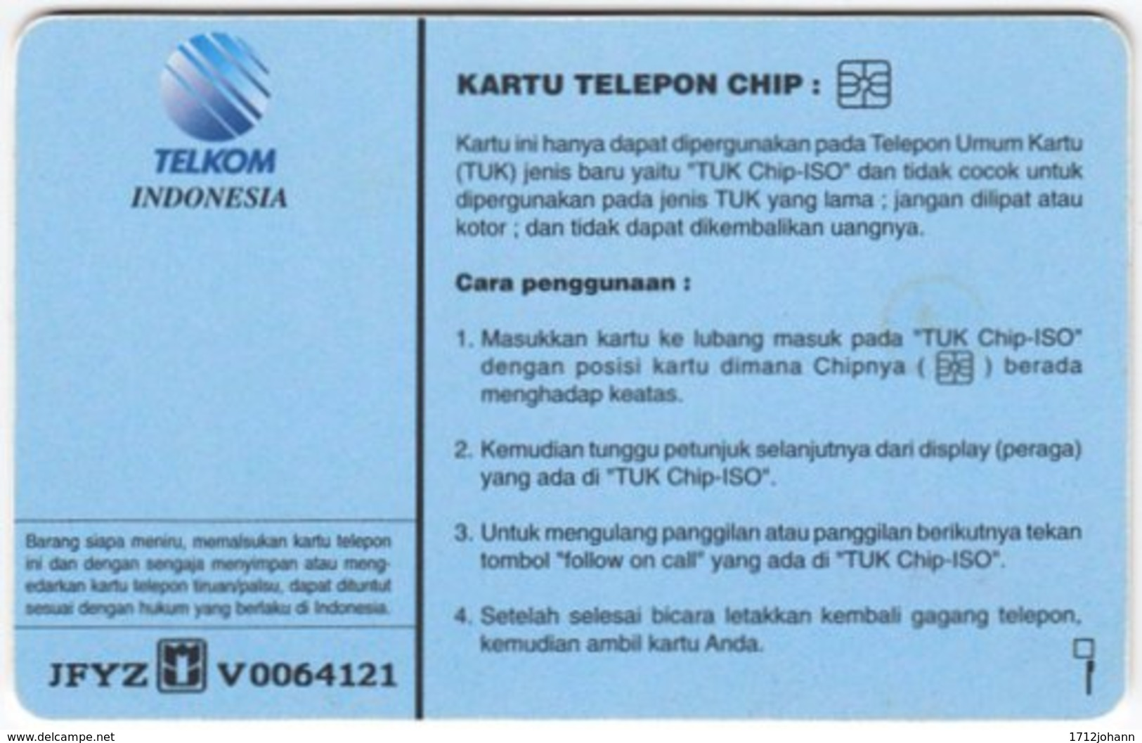 INDONESIA A-292 Chip Telekom - Used - Indonesien