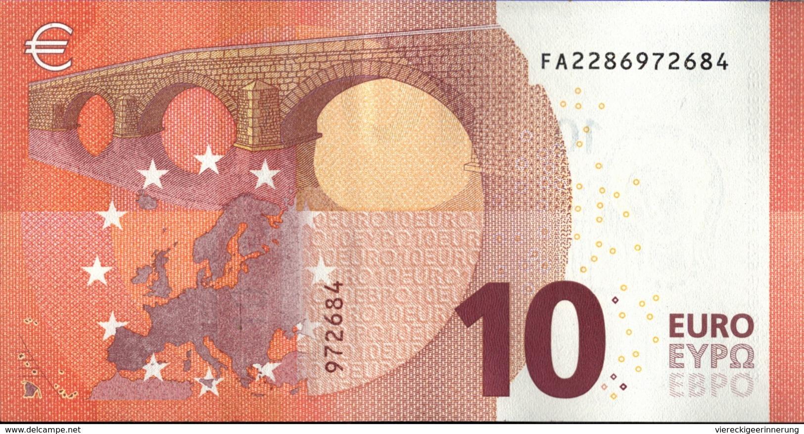 ! 10 Euro F002D1, FA2286972684, Unc., Currency, Banknote, Billet Mario Draghi, EZB, Europäische Zentralbank - EURO
