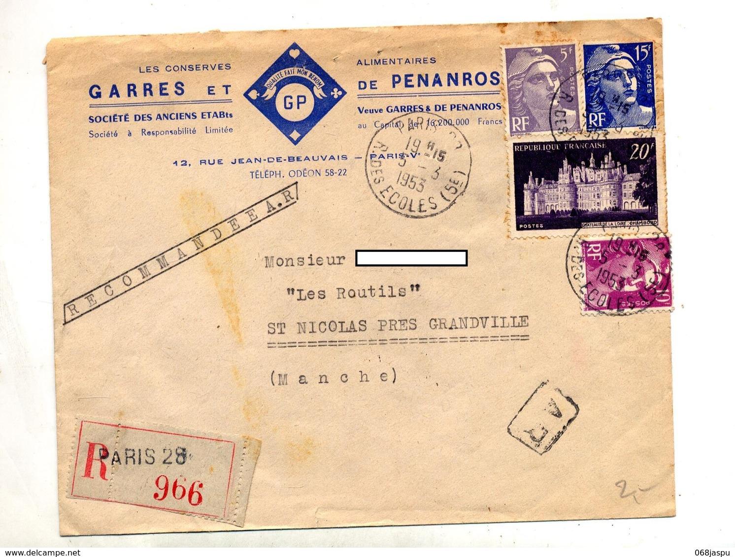 Lettre Recommandée Paris 28 Sur Chambord Gandon Entete Conserve - Storia Postale