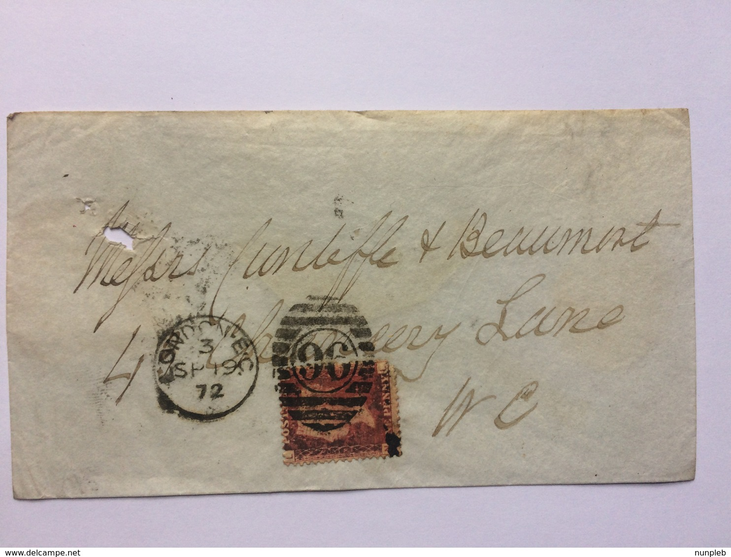 GB Victoria 1872 Cover London Internal Tied With 1d Red Plate 130 - 1840-1901 (Victoria)