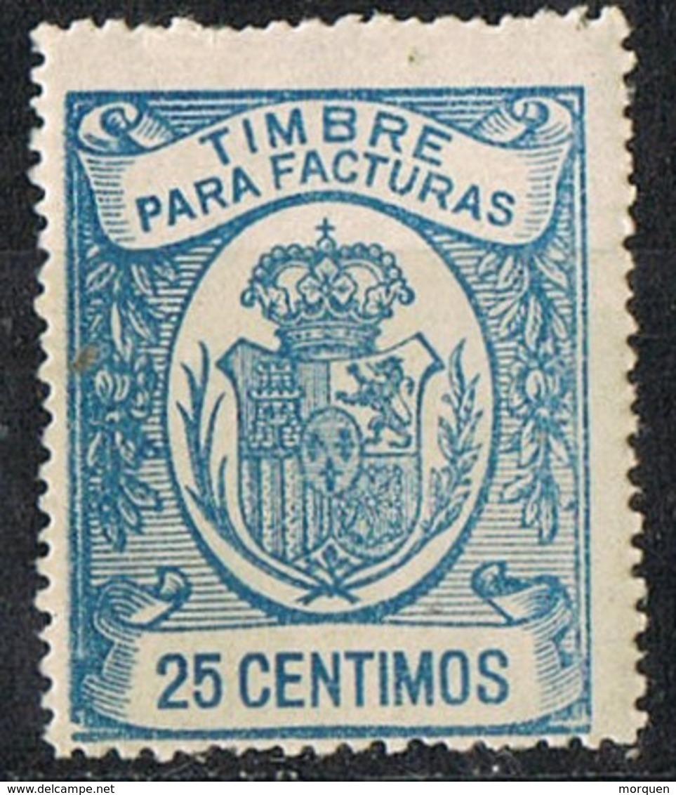 Sello Timbre Para Facturas 25 Cts Monarquia, Variedad De Impresion ** - Fiscales