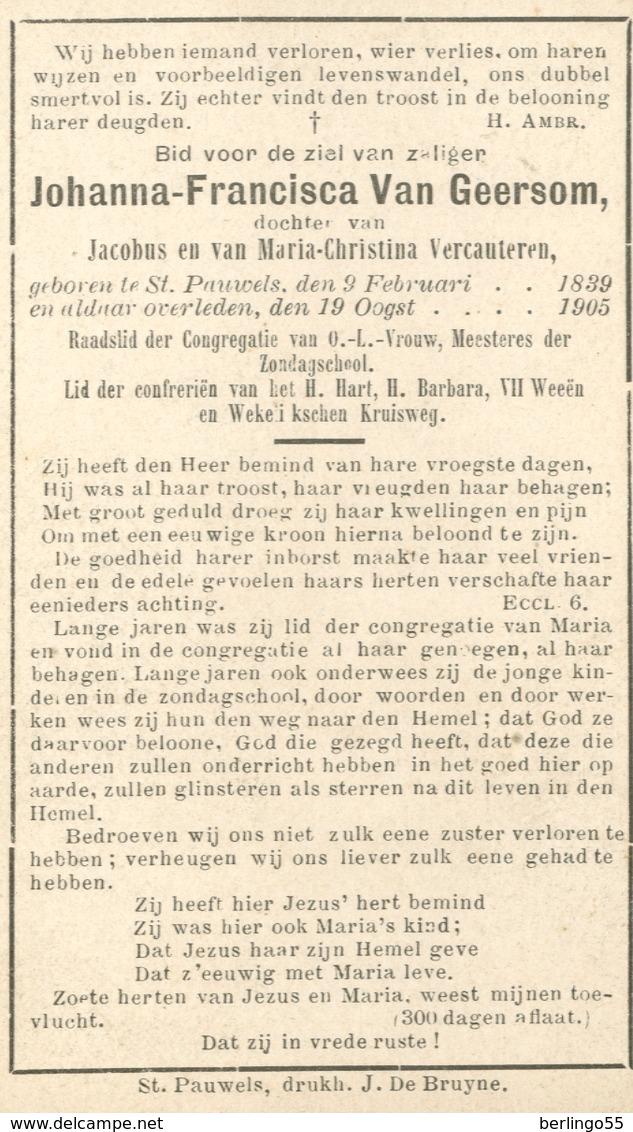 Dp. Van Geersom Johanna. ° St. Pauwels 1889 † St. Pauwels 1905  (2 Scan's) - Religion & Esotericism