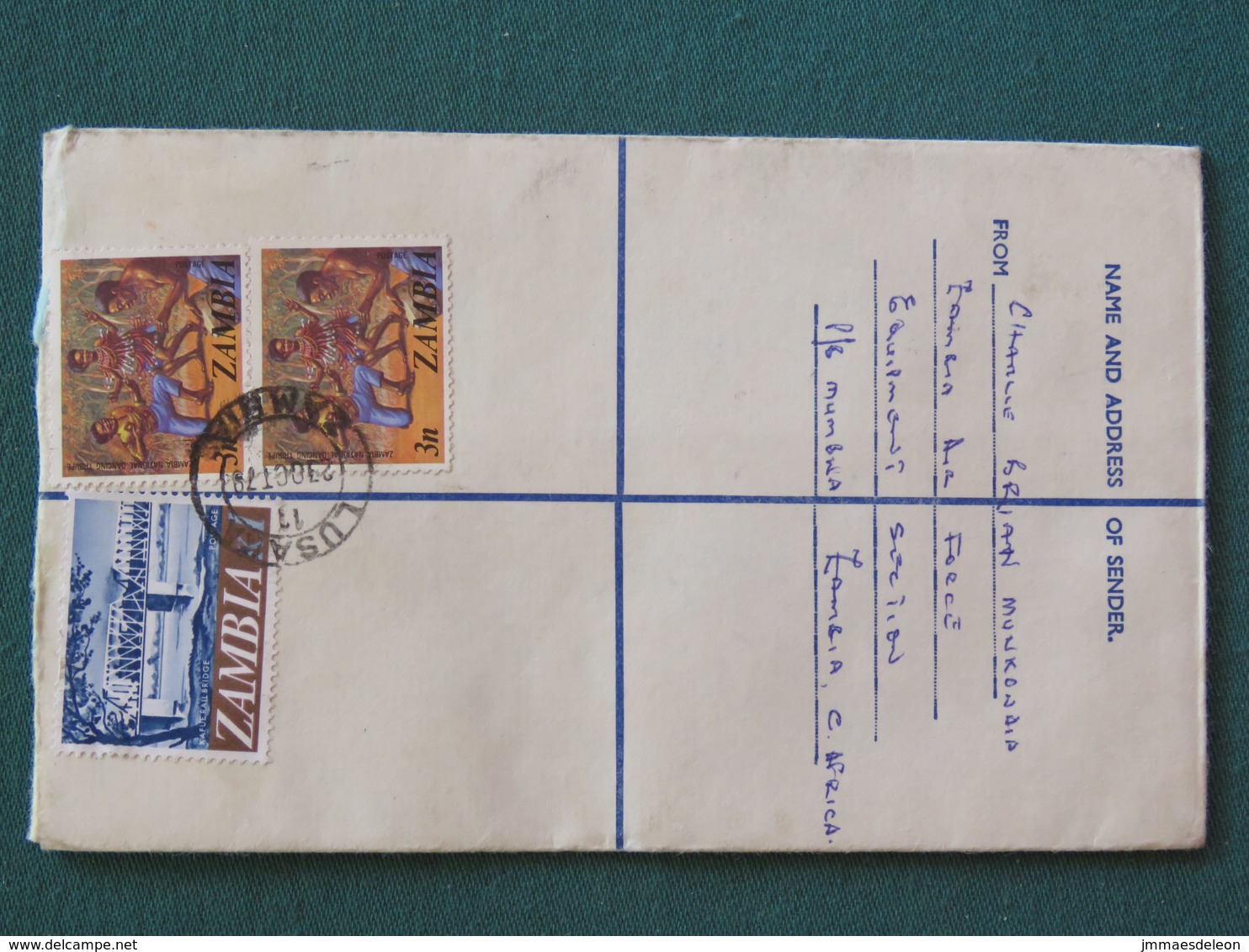 Zambia 1979 Registered Cover To England - Dance - Railway Bridge - Zambie (1965-...)